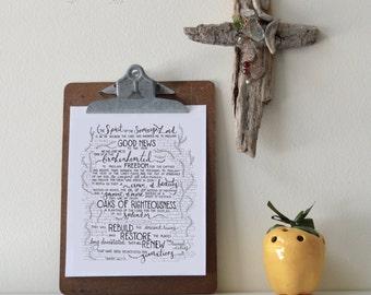 Isaiah 61:1-4 Printable Bible Verse Art Print 8x10 Digital Wall Art Gift