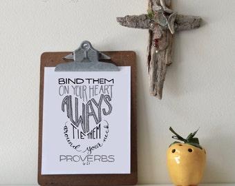 Proverbs 6:21 Printable Bible Verse Art Print 8x10 Digital Wall Art Gift
