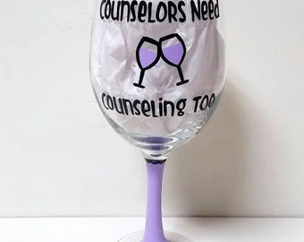 Counselor handpainted wine glass counselor gifts school counselor