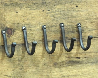 Blacksmith Forged Hooks - Set of Five - perfect housewarming gift idea for that rustic industrial log cabin minimalist decor
