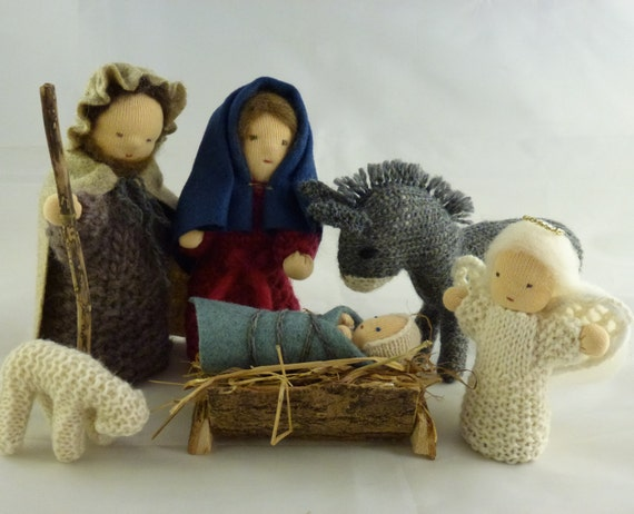 Knitting Patterns Christmas Figures : Knitting Pattern Nativity Characters. Joseph Mary baby