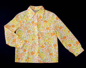 French vintage 60's pastel colored floral print shirt age 7 - 8