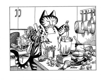 Kliban cat cartoon funny vintage print kitchen preparing food feline illustration 8.5 x 10.25 inches