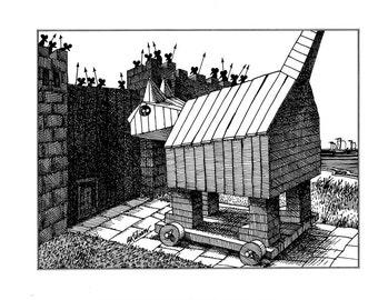 Trojan Cat Kliban cat cartoon funny vintage print feline illustration 8.5 x 10.25 inches