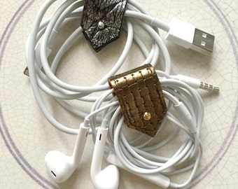Leather Earphone Cords and Cable Tidy Organisers in Metallic Leathers, Stationary, Mini Organisers, Sets of Two or Four