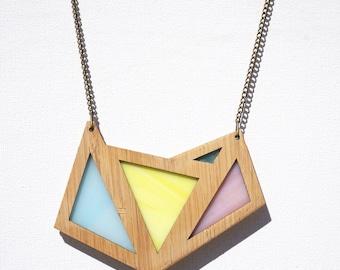 Pretty Pastel Glass Foxface Wooden Pendant on chain.