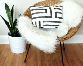 Hand Painted Geometric Pillow Cover