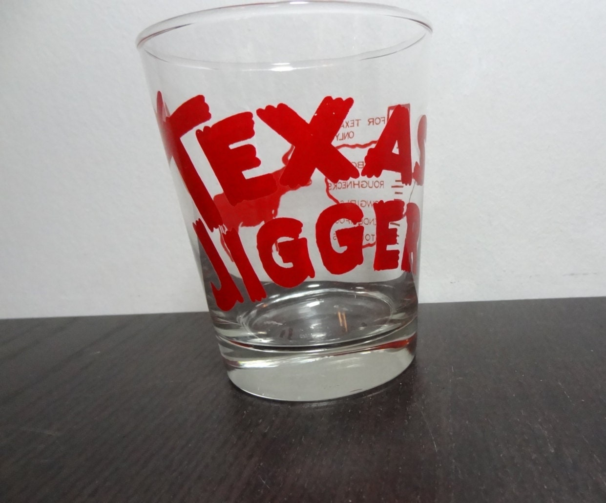 vintage retro large glass texas jigger novelty shot glass. Black Bedroom Furniture Sets. Home Design Ideas