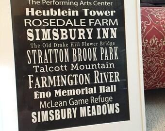 Simsbury, Connecticut Hometown Landmark Print (New England, Farmington Valley, CT, etc.)