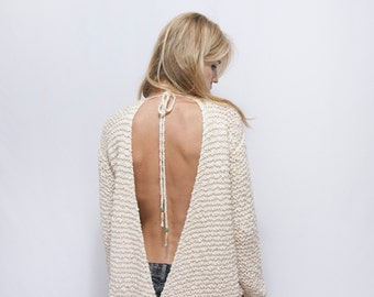 Open Back Knitted Sweater - Backless Sweater - Cotton Off the Shoulder Sweater -  Boho Sweater - Woman Off Shoulder Sweater - ROY Sweater