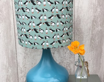Little Puffins Fabric Covered Lampshade.