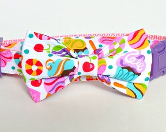 SALE Pre-Made SUMMER FUN Medium Dog Bow Tie Only, cat bow tie