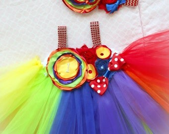 Beautiful Circus Clown Rainbow Tutu Dress for Baby Girl 6-18 Months Carnival First Birthday First Halloween