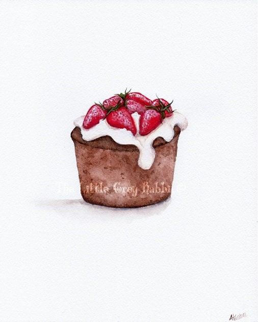 Cake Art Printer : Strawberry Cake Art Chocolate Cake Print Watercolor Print
