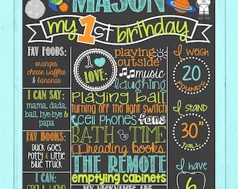 Space First Birthday Chalkboard   RocketShip Birthday   Out of this World Birthday   Boy Rocket Ship Birthday Board   *DIGITAL FILE*