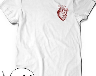 Pocket Heart Anatomy Tee T-shirt Tee Mens Womens Ladies Science Gift Geek Nerd Present Geekery Human Geekery Drawing Health Anatomical Shirt