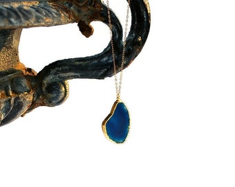 Blue Agate Slice Necklace, Long Agate Necklace, Long Gold Layering Necklace