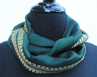 Emerald green Infinity scarf, sari scarf, upcycled scarf, green cowl, emerald cowl, boho scarf, green scarf, summer scarf, emerald scarf