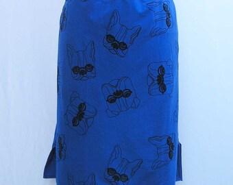 Blue bulldog skirt, pencil skirt, Plus size Skirt, blue skirt, French bulldog skirt, 1x 2x 3x 4x skirt dog skirt straight skirt jersey skirt