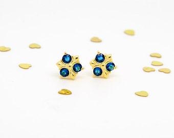 Zora Saphire earrings Zelda stud earrings sterling silver, 24k gold plated