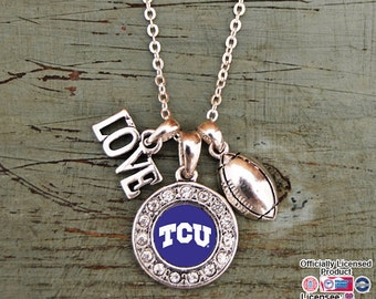 TCU Horned Frogs 3 Charm Football Necklace