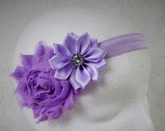 Purple Baby Headband, Baby Girl Headband, Baby Flower Headband, Newborn Headband, Little Girl Headband, Satin Flower Headband, Shabby Chic