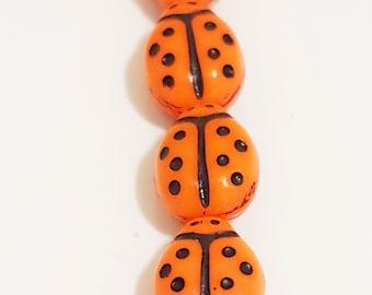 Czech Glass Ladybug Beads 9/7 MM Opaque Orange or Yellow (25)