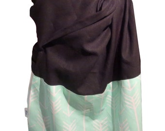 Ring sling blossom, Linen black and Arrow mint, Baby sling, baby carrier, baby wrap