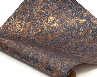 Hand-Marbled Paper Imported From Italy - Curled Stone - Blue/Brown/Gold