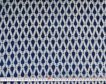 Geometric print Indigo fabric mudcloth cotton block print fabric by the yard