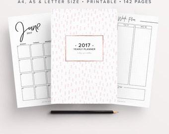 2017 Planner, 2017 Organizer, 2017 Agenda, Printable Planner, 2017 Life Planner, Bullet Journal Printable, Dot Grid, Yearly Planner, Monthly