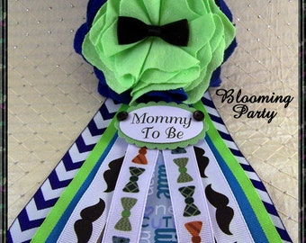 Bow Tie Mommy To Be Corsage Little Man Baby Shower Blue and Green Bow Tie Baby Shower Corsage Mom Badge Mustache Corsage