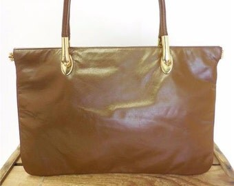 Robert Bestien Vintage 1960s Brown Leather Minimalist Mid Century Tote Bag Purse