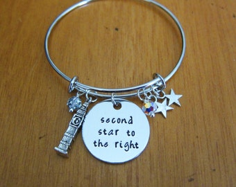 Second Star To The Right. Pan of Neverland Bangle Bracelet. Peter charm Bracelet. Swarovski elements crystals. Hand Stamped jewelry
