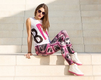 Magenta Braincell Leggings, Futuristic Clothing, Sci-fi Clothing, Black Yoga Pants, Festival Gear, Purple Yoga Pants, Gift for Girlfriend
