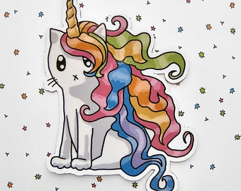Cute Cat Magnet Unicorn Magnet Rainbow Caticorn Rainbow Fridge Magnet Cubicle Decor Kawaii Magnet Cute Cat Kitty Magnet Refrigerator Magnet