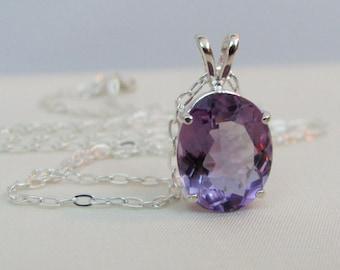 Amethyst Pendant in Sterling Silver, February Birthstone Jewelry, 14x10mm Amethyst Gemstone, Faceted Oval Amethyst, Purple Gemstone Necklace