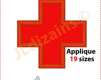 Red Cross Applique Design. Red cross embroidery design. Medical cross applique design. Medical cross embroidery. Machine embroidery design