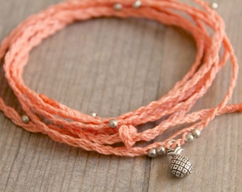 Peach Coloured Pineapple Anklet, Layered Wrap Anklet, Pink coloured Festival jewellery, Bohemian hippie anklets