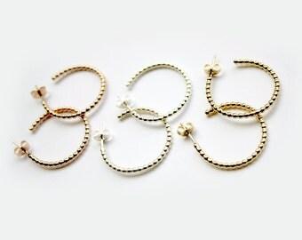 Beaded Ball Hoops / Ballwire Hoop Earrings / Decorative Hoops / Beaded Hoop Studs / MADE IN NYC
