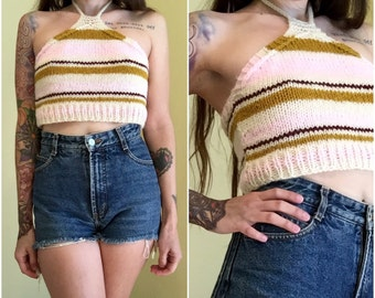 Hand knit recycled halter top striped 70s wool