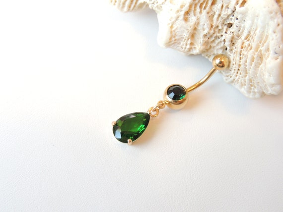 gold belly ring emerald green teardrop belly ring may