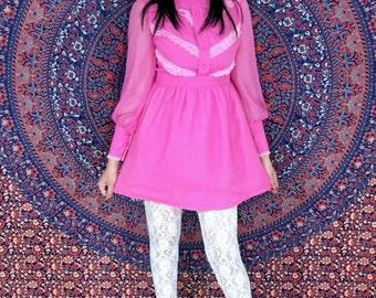 Vintage 60's Mod Dark Pink Fuschia High Collar Victorian Style Poet Sleeves Chiffon Babydoll Mini Dress S
