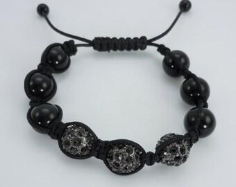 Black Onyx Bead Shambala Bracelet, Bead Bracelet, Shambala