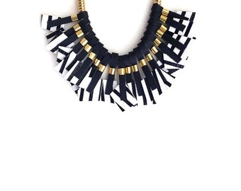 Striped Necklace - Statement Necklace - Bib - Rope - Geometric Necklace - Leather Necklace - Black & White Necklace - Leather Necklace