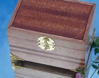 Handmade  OAK JEWELRY BOX, mahogany, gift to him or her.