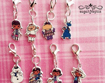 Doc McStuffins Charm Bracelet - Doc McStuffins Bracelet - Lambie Charm - Hallie Charm - Stuffy Charm - Chilly Charm - Doc and Friends Charms