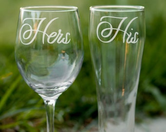 His And Hers Glasses Set Of 2 Wedding Toasting Anniversary Gift