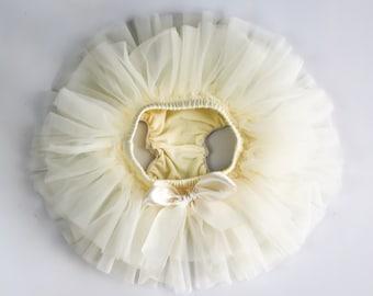 Baby Tutu Skirt, Ivory Tutu Skirt, Ivory Baby Bloomers, Ivory Diaper Cover, Baby Diaper Cover, Champagne Baby Bloomer , 2121