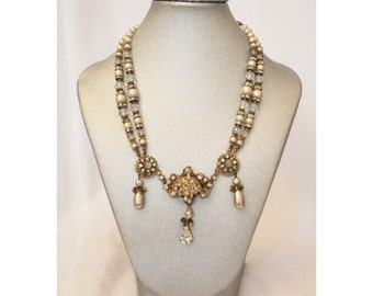Unsigned Haskell Demario Pearl and Crystal Teardrop Necklace